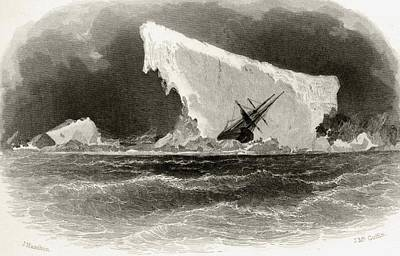 Storm Drawing - Ship Wrecked On Iceberg. Title by Vintage Design Pics