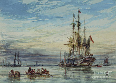 Pirate Ships Painting - Shipping, 19th Century by George Chambers