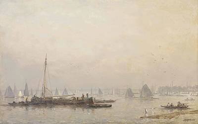 Sea Painting - Shipping Activities On The Maas In Morning  by MotionAge Designs