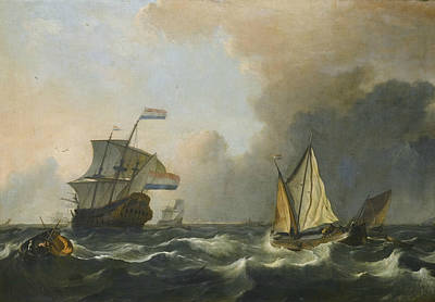 Painting - Shipping In Rough Waters Off The Dutch Coast by Ludolf Bakhuizen