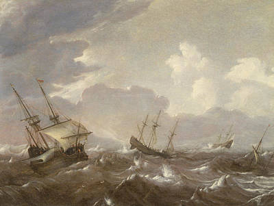 Boats In Water Painting - Shipping In The High Seas by Pieter the Elder Mulier