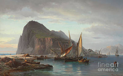 Sea View Painting - Shipping Off Gibraltar, 1880 by Vilhelm Melbye