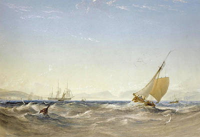 Drawing - Shipping Off The Coast by Anthony Vandyke Copley Fielding