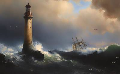 Historic Lighthouses Painting - Shipping Off The Eddystone Lighthouse by Mountain Dreams