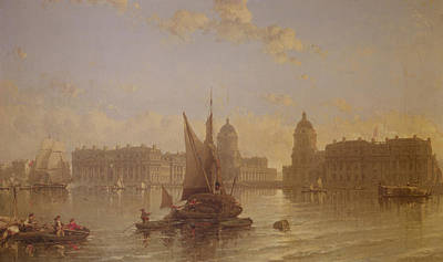Nineteenth Century Painting - Shipping On The Thames At Greenwich by David Roberts