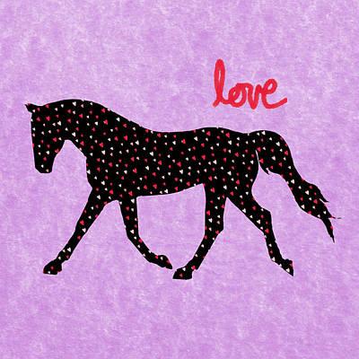 Digital Art - Horse, Love And Hearts by Patricia Barmatz