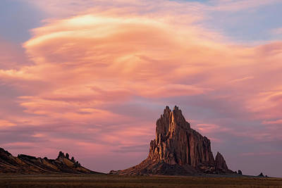Shiprock At Sunset Art Print