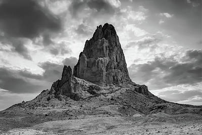 Photograph - Shiprock Monolith Sunset - Monument Valley - American Southwest Bw by Gregory Ballos