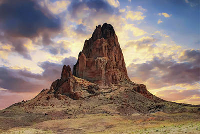 Photograph - Shiprock Monolith Sunset - Monument Valley - American Southwest by Gregory Ballos