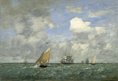 Painting - Ships And Sailing Boats Leaving Le Havre by Eugene Boudin