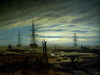 Caspar Painting - Ships At Anchor by Caspar David Friedrich