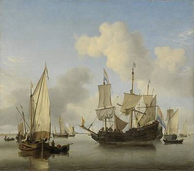 Painting - Ships At Anchor On The Coast  Willem Van De Velde II C 1660 by R Muirhead Art