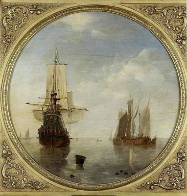 Painting - Ships At Anchor    Willem Van De Velde II C 1650  C 1707 by R Muirhead Art
