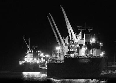 Benchmark Photograph - Ships At Night by Christine Douglas