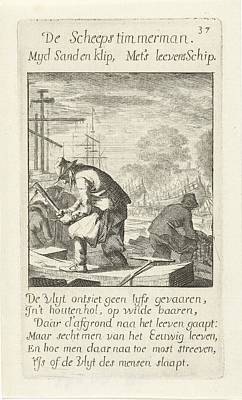 Drawing - ship's carpenter Scheepstimmerman Jan Luyken 1694 by R Muirhead Art