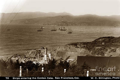 Photograph - Ships Entering The Golden Gate San Francisco 1896 by California Views Mr Pat Hathaway Archives