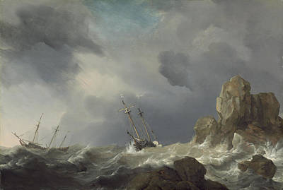 Ships In A Gale Art Print by Willem Van De Velde The Younger