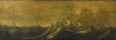 Painting - Ships In A Storm     Andries Van Eertvelt   Attributed To  1600   1652 by R Muirhead Art