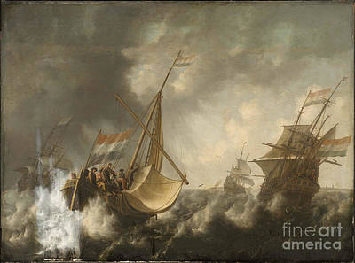 Ships In A Storm  Art Print by MotionAge Designs