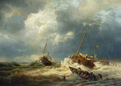 Ships In A Storm On The Dutch Coast Art Print by Andreas Achenbach