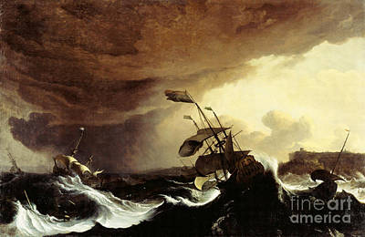 Ships In A Stormy Sea Off A Coast Art Print by Celestial Images