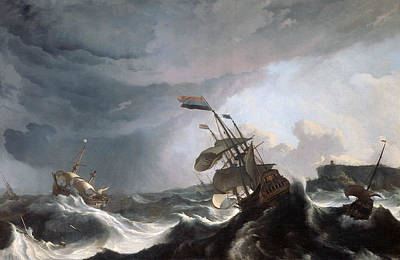 Painting - Ships In Distress In A Heavy Storm by Ludolf Bakhuizen
