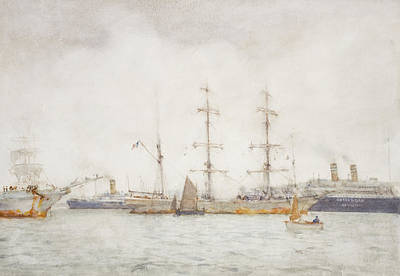 Sailboats Drawing - Ships In Harbor by Henry Scott Tuke