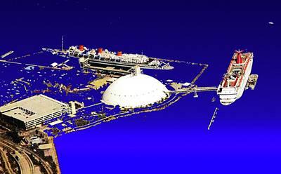 Queen Mary Digital Art - Ships In Port by Ronald Irwin