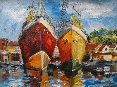 Ships In Repair Art Print by Min Wang