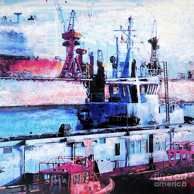 Hamburg Mixed Media - Ships In The Harbour by Nica Art Studio