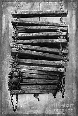 Photograph - Ship's Ladder In Black And White by Nina Silver