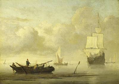 Painting - Ships Near The Coast During A Calm Willem Van De Velde II C 1650  C 1707 by R Muirhead Art