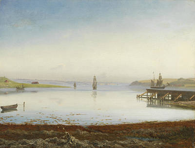 Painting - Ships On A Fjord by Thorald Laessoe