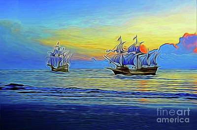 Photograph - Ships On The Horizon 19618 by Ray Shrewsberry