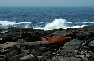 Ships Remain On Rocks Art Print by Georgia Sheron