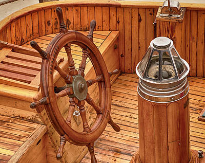 Photograph - Ships Wheel And Compass by Mick Burkey