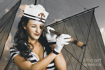 Vintage Pinup Photograph - Shipshape Maritime Sailor Woman With Telescope by Jorgo Photography - Wall Art Gallery