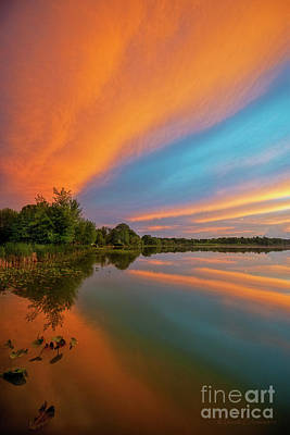 Photograph - Shipshewana Lake Sunset by David Arment