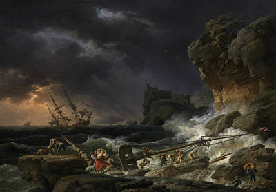 Painting - Shipwreck In A Thunderstorm by Claude-Joseph Vernet