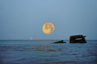 Atlantis Digital Art - Shipwreck Moon - Cape May by Bill Cannon