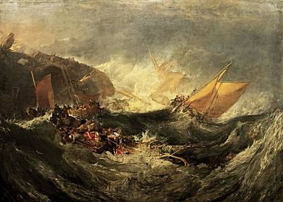 Print featuring the painting Shipwreck Of The Minotaur by J M William Turner