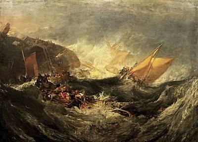 Minotaur Painting - Shipwreck Of The Minotaur by J M William Turner