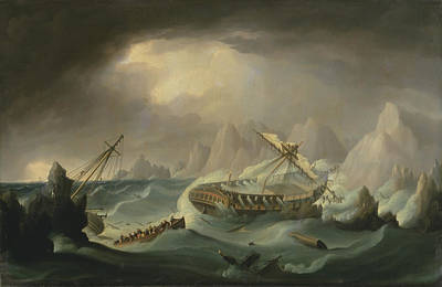 Shipwreck Off A Rocky Coast Print by War Is Hell Store