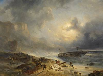 Painting - Shipwreck Off A Rocky Coast   Wijnand Nuijen C 1837 by R Muirhead Art