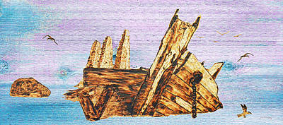 Key West Mixed Media - Shipwreck On Wood by Ken Figurski