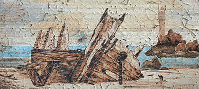 Coastal Maine Mixed Media - Shipwreck Peeling Paint by Ken Figurski