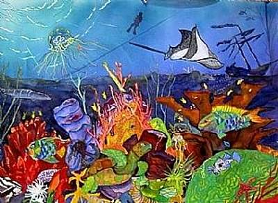 Parrotfish Painting - Shipwreck Reef by Brenda Tucker