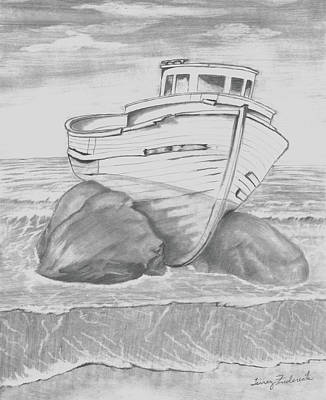 Drawing - Shipwreck by Terry Frederick