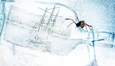 Ship In A Bottle Photograph - Shipwrecked by Camille Lopez
