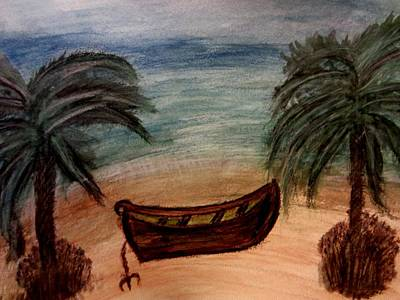 Boat Painting - Shipwrecked by Stephanie Zelaya